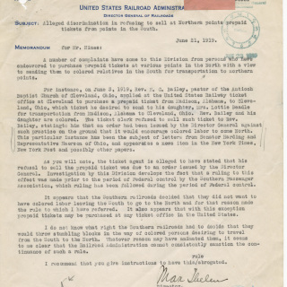 Letter wartime regarding discrimination