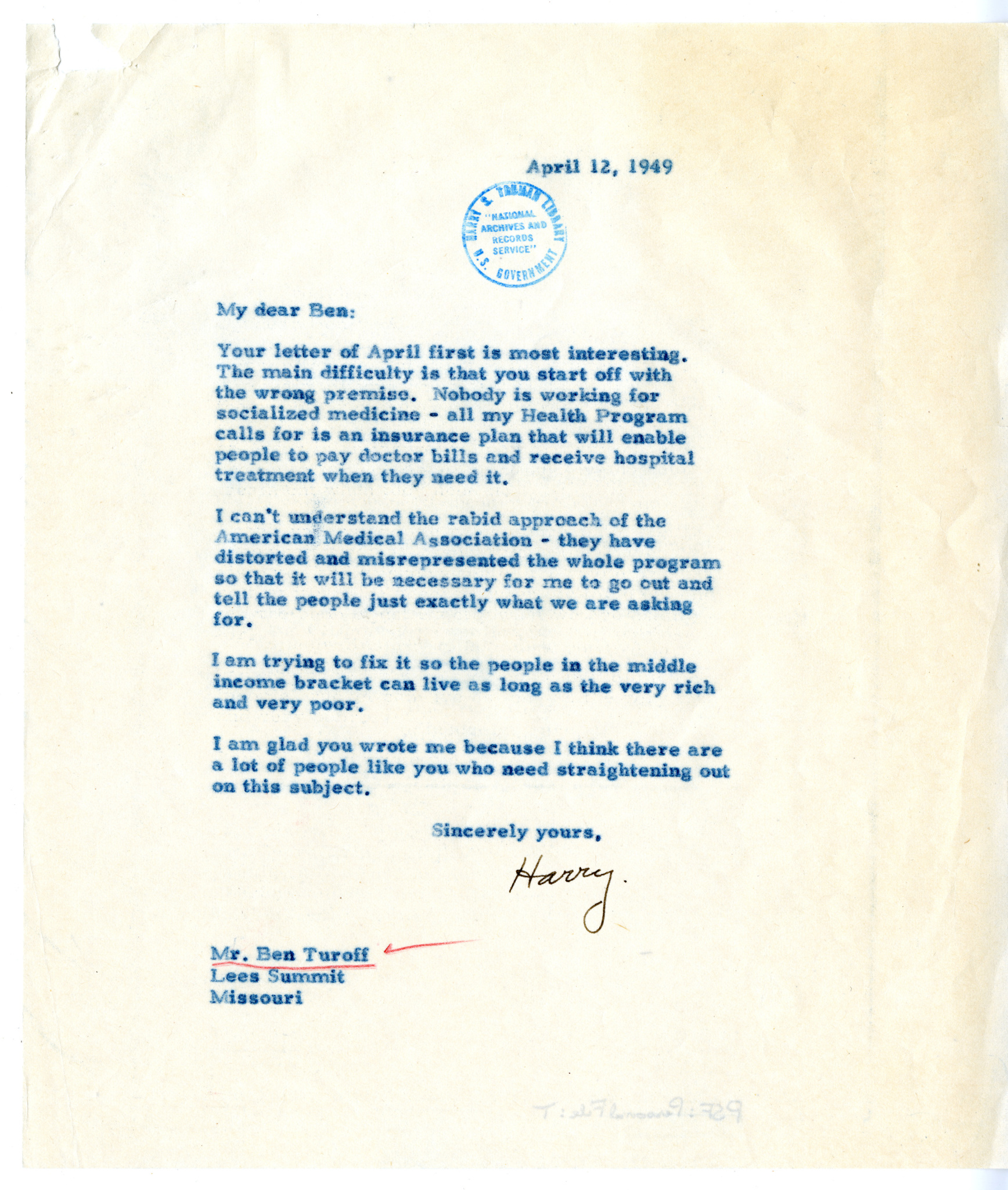Letter from Harry S. Truman on health care