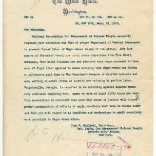 NAACP Telegram Regarding Forced Labor of Women