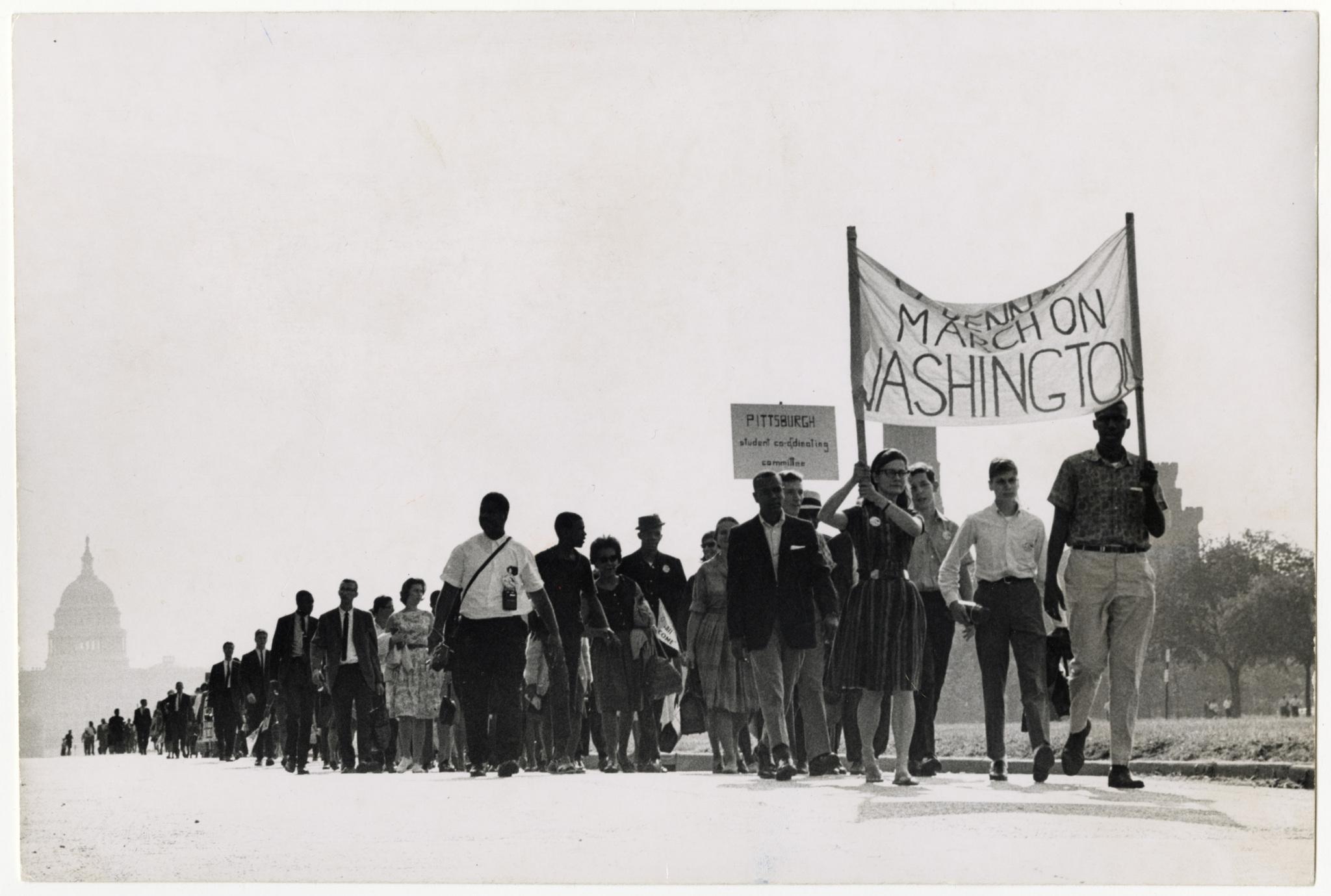 the march on washington 1963 arc identifier 49737 / local identifier 3063394 scenes from civil rights march in washington, dc, august 1963 people walking up sidewalk.
