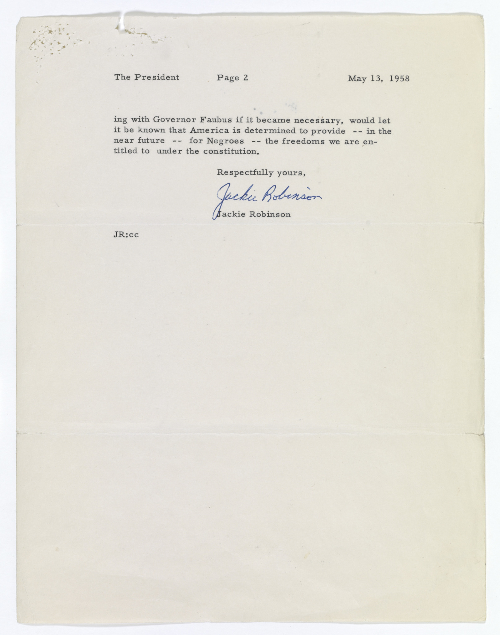 "Jackie Robinson's ""Can't Wait"" Letter"