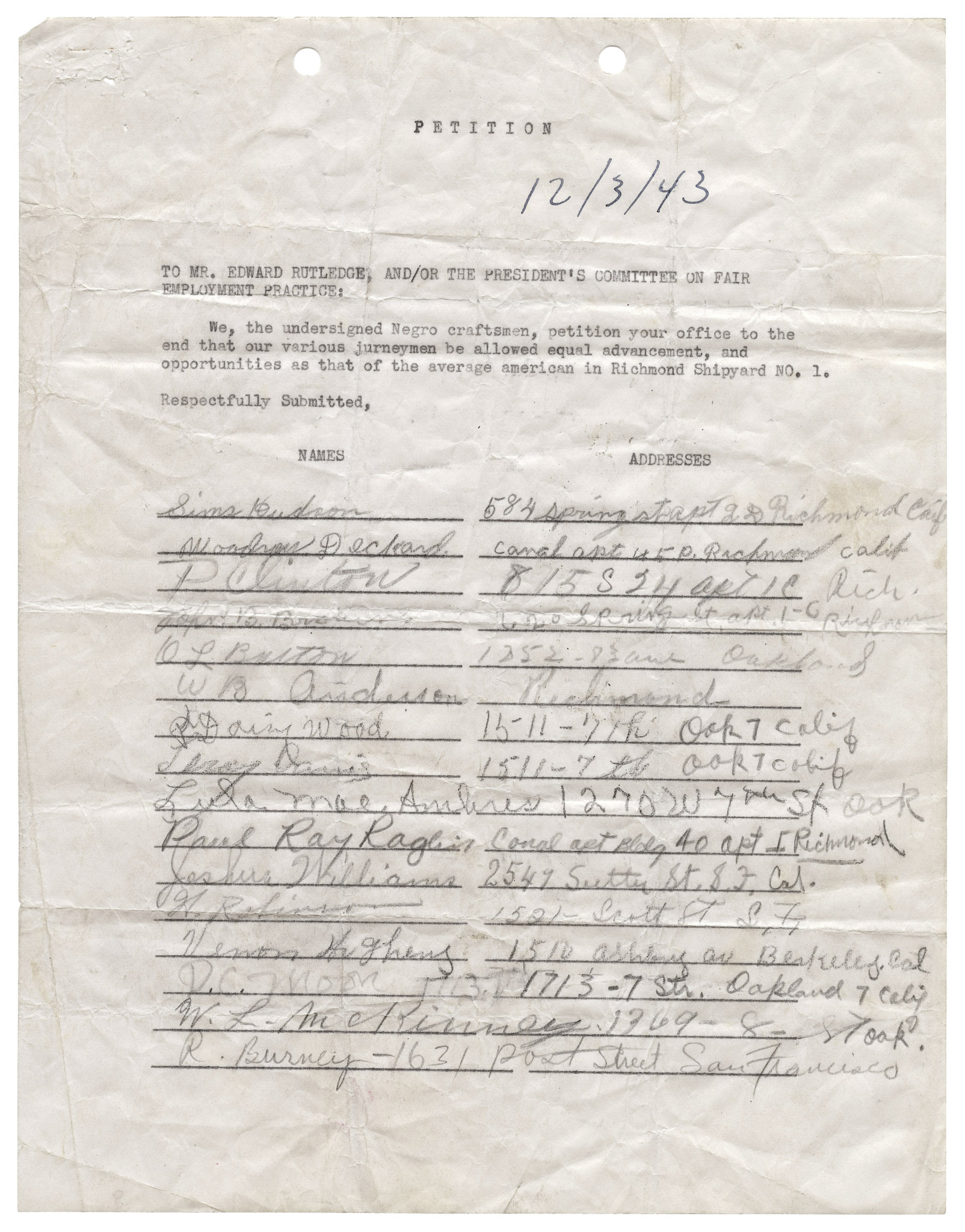 Petition from African Americans workers