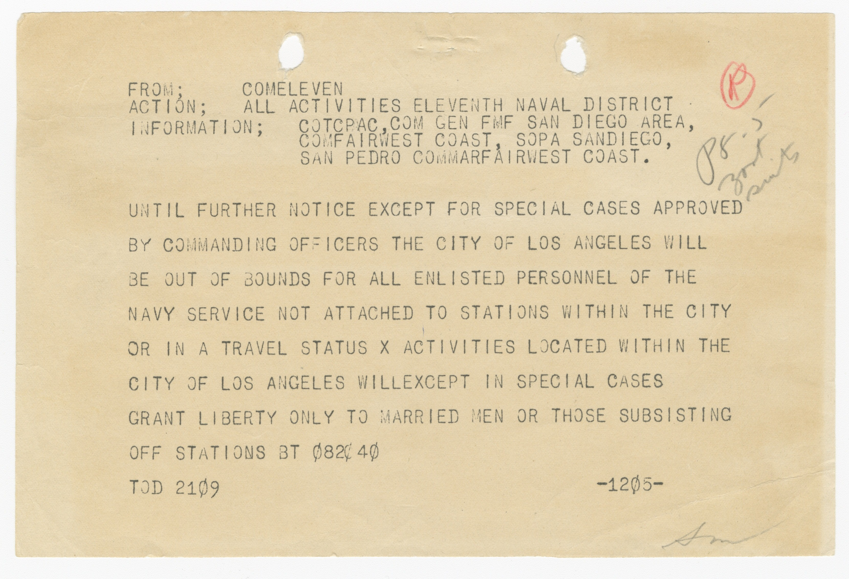 Enlisted Personnel Barred from Los Angeles, 1943   Records