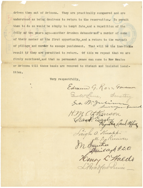 Letter to President Grover Cleveland